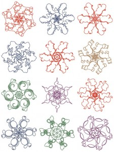 Animal snowflake machine embroidery designs