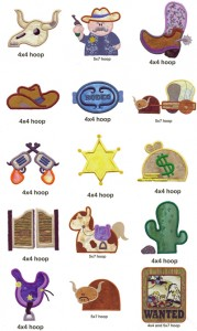 Western appliqué machine embroidery designs