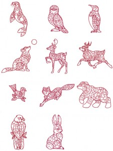 Redwork animal machine embroidery designs