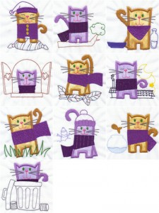 Cute cats appliqué machine embroidery designs