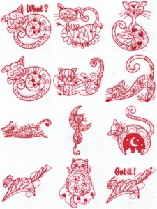 Machine embroidery designs Magical cats