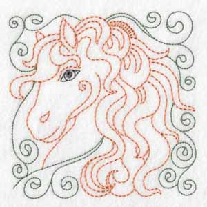 horse Squares Redwork machine embroidery designs