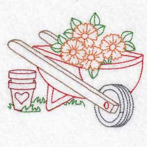 wheelbarrow machine embroidery designs