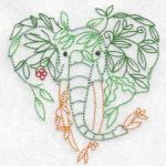 machine embroidery design elephant