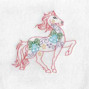 machine embroidery design Christmas Horse