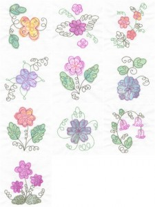 Curly flower appliqué machine embroidery designs