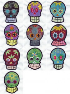 Appliqué sugar skulls machine embroidery designs