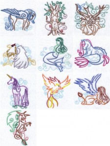Imaginary creatures machine embroidery designs