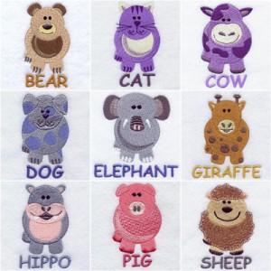 Round animals machine embroidery designs
