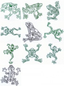 Frogs machine embroidery designs