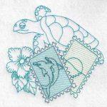 machine embroidery design fish turtle