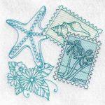 machine embroidery design fish starfish