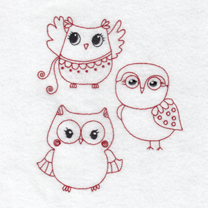 Machine embroidery designs Owls