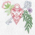 machine embroidery designs heart valentine padlock