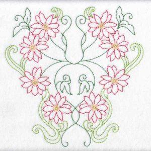 Redwork Florals Machine embroidery designs