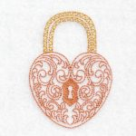 machine embroidery design heart lock