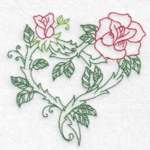 machine embroidery design heart rose