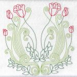 Multicolor Redwork Florals Set 3 Large