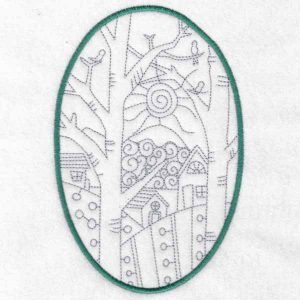 Folk Art Houses machine embroidery designs