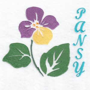 Stencil Flower Pansy Machine Embroidery