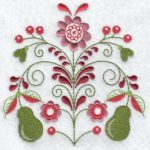 Folk flowers machine embroidery designs pears