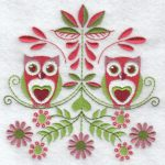 Folk flowers machine embroidery designs owls