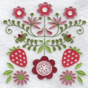 Folk flowers machine embroidery designs strawberries