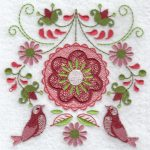 Folk flowers machine embroidery designs birds