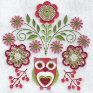 Folk flowers machine embroidery designs owl